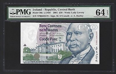 2001 Ireland 50 Pounds, Central Bank of Ireland UNC PMG 64 EPQ P-78b Scarce Date