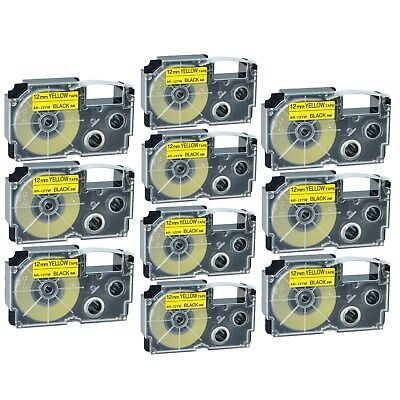 """10PK XR-12YW Black on Yellow Label Tape for Casio KL-60 100 7000 8200 8800 1/2"""""""