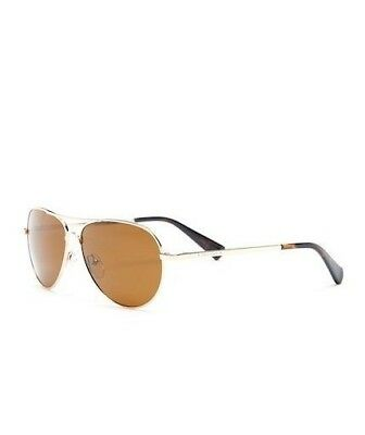 6318fd66a7 Cole Haan Womens CH7037 Polarized Gold Brown Small Aviator Sunglasses New   98
