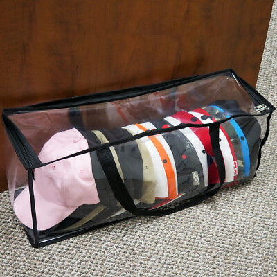 Evelots Large Clear Baseball Cap Zipper Storage Bag, Hat Organizer and Protector