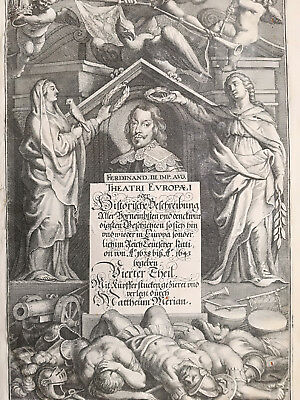 Merian Theatrum Large Engraved Title Page - 1630