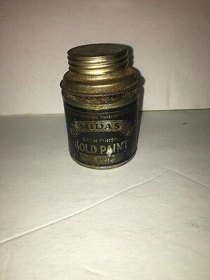 Vintage Tin Can Baer's No. 25 MIDAS Gold Leafing Paint Some Contents