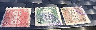 China Revenue Stamps Antique 10 Cent, 20 Cent, 1 Cent, Characters, Red, Green