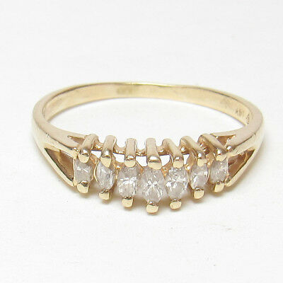 Estate 14K Yellow Gold Seven Marquise Cut Diamond Ring 0.25 Cts