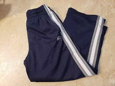 Starter athletic pants boys size 6/7 navy blue with gray and white strip down...