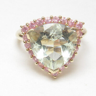 Estate 10K Yellow Gold 5.50 Ct Natural Trillion Green Amethyst And Sapphire Ring
