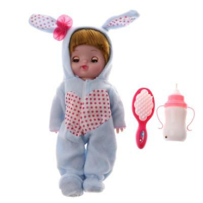 Electric Crying & Laughing Vinyl Newborn Doll w/Feeding Bottle Role Play Toy