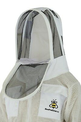 Beepro 3 Layer beekeeping jacket hat ventilated protective fency veil hood@L-01