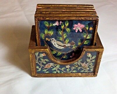 Vintage Coaster Set, Reverse Painted on Glass Scene with Birds and Flowers