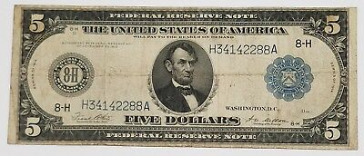 1914 $5 Federal Reserve Note - St. Louis Fine Blue Seal