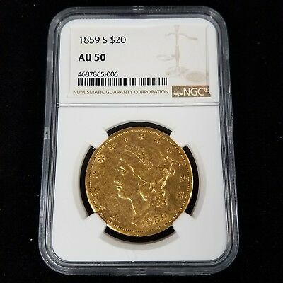 1859 S $20 American Liberty Head Gold Double Eagle NGC AU50 Coin PB5006