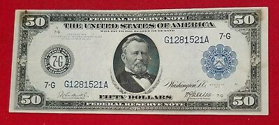 1914 $50 Federal Reserve Note - Chicago VF Blue Seal