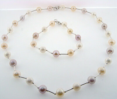New Multi Color Saltwater Pearl Necklace Bracelet Set