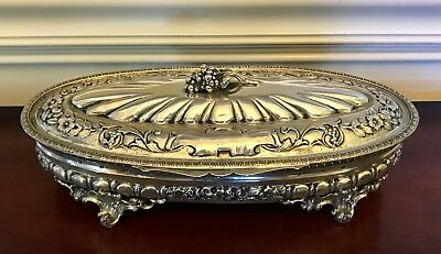 HUGE~800 Sterling Silver JEWELRY VANITY DRESSER BOX~ ART NOUVEAU VICTORIAN 16 OZ