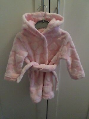 Peacocks Baby Girls Pink Love Heart Design Hooded Dressing Gown 3-6 Months