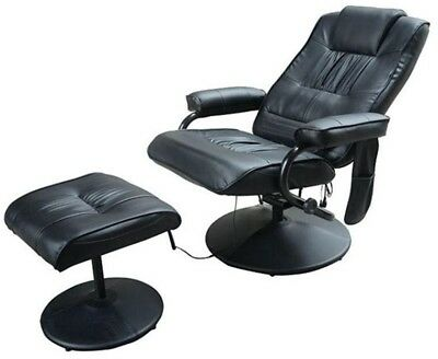 Black Leather Massage Chair Reclining Seat With Footstool Heated Recliner Chairs