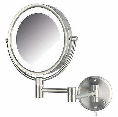 Jerdon HL88NL 8.5 Inch LED Lighted Wall Mount Makeup Mirror 8x Magnification