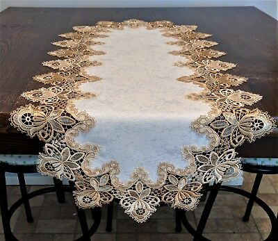 Doily Boutique Table Runner or Doily with Gold Vintage Lace and Fabric