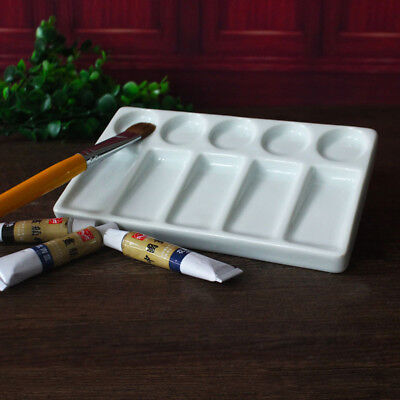 10 Well Rectangular Ceramic Porcelain Watercolour Palette Paint Mixing Tray