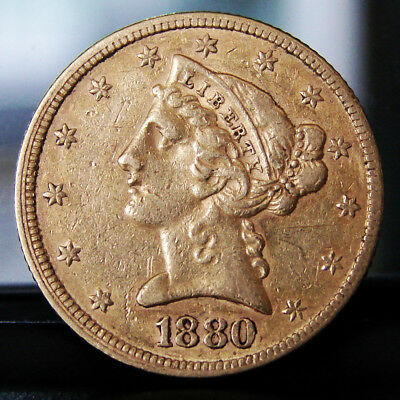 EXCELLENT - 1880 Liberty Head United States $5 Dollar 90% Gold Coin