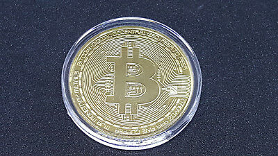 3 BITCOIN - 3x Go Plated Physical Coin In Protective Acrylic Case. Free Shipping