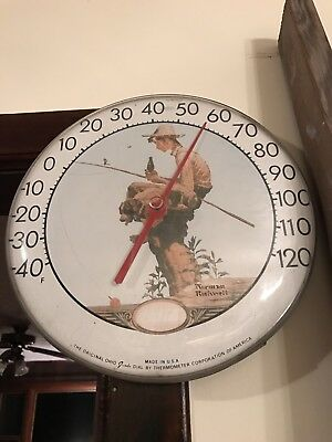 Vintage Coca-Cola Jumbo Dial Advertising Thermometer Norman Rockwell Nice