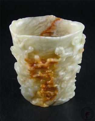 Old Chinese Celadon Nephrite Jade Carved Brush Pot Statue PLUM BLOSSOM