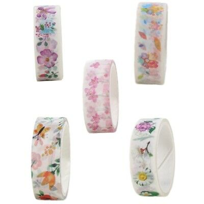 Washi Tape -Colourful Vintage Flowers on Black 15mm x 5m Floral Blooms Hot