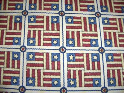 July 4 Patriotic  Stars Stripes Red Cream Blue Cotton Quilt Fabric BTY