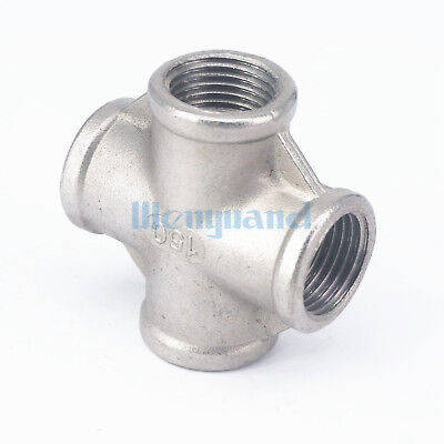 """1/2"""" BSP Female 304 SS Cross 4 Way Connector Pipe Fitting water"""