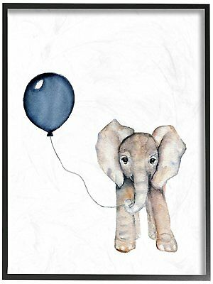 The Kids Room by Stupell Baby Elephant with Blue Balloon Oversized Framed Giclee