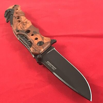 "7.75"" Tac Force Red Camo Rescue Spring Assisted Tactical Folding Pocket Knife"