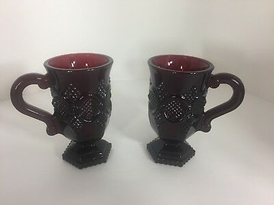 Vintage Avon Cape Cod 2 Irish Coffee Mugs, Ruby Red Glass Footed 5 inches Tall