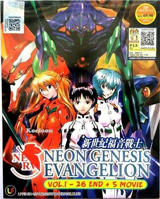 DVD Anime Neon Genesis Evangelion Complete Series (1-26) + 5 Movies English Dub*