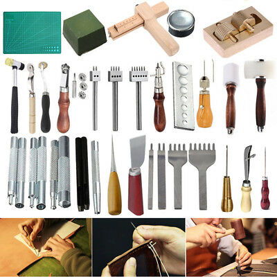 Various Style Leather Craft DIY Tools Sewing Punch Groover Awl Skiving Knife Kit