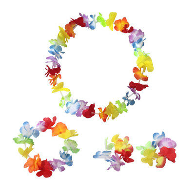 4Pcs Hula Hawaiian Flower Necklace Garland Fancy Party Lei Dress Up Headband Sur