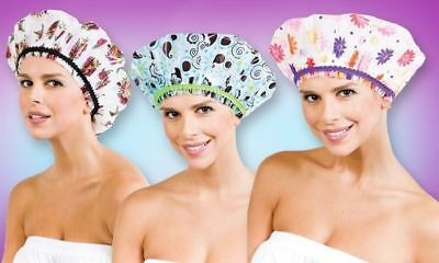Betty Dain The Fashionista Lining Shower Cap TROPICAL OASIS / DECO DOTS