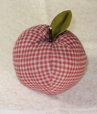 NEW~HandCrafted Fabric Apple Bowl Fillers Farmhouse Decor Fruit FADED RED CHECK