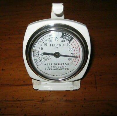 Old Vintage TEL TRU Refrigerator & Freezer Thermometer With Hook