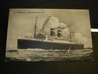 Steamer SS CALIFORNIA, PANAMA PACIFIC Line Naval Cover unused post card