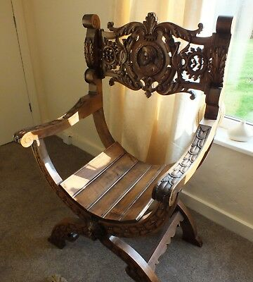 Stunning 1890 Antique Extensively Carved Wood X Framed Throne Chair