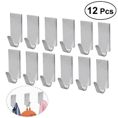 Useful 12 Pcs Stainless Steel 3M Self Adhesive Sticky Hooks Wall Storage Hanger