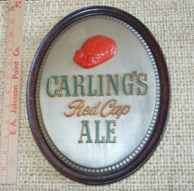vintage CARLING RED CAP ALE back bar sign cast metal CLEVELAND OHIO brewery beer