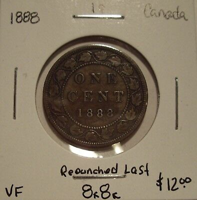 Canada Victoria 1888 Repunched Last 88 Large Cent - VF