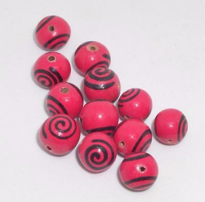 VTG 12 ROUND Pink Black Spiral Painted Wood Beads Unique Craft Jewelry Lot Fun