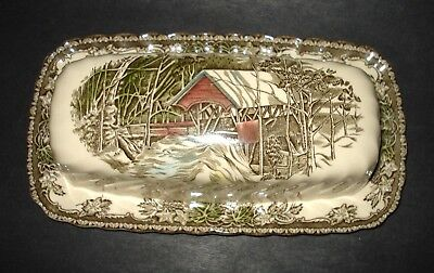 VTG Friendly Village JOHNSON BROTHERS England 1/4 Lb Covered BUTTER DISH & LID