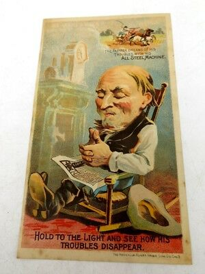 Vintage 1890's Hold To Light Trade Card Buckeye Binder Aultman Miller Farm Co