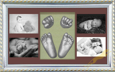 Baby Keepsake DIY 3D Casting kit 100% Safe & Shadowbox photo frame Silver S