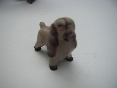"VINTAGE hand carved WOODEN COCKER SPANIEL MINI DOLL HOUSE item ? 1"" x 1 1/4""  nr"