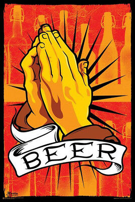 Pray For Beer Poster 91X61Cm Religious Motivational Man Cave Wall Print Art New
